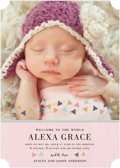 Stunning Welcome - Girl Photo Birth Announcements - Magnolia Press - Taffy Pink #baby