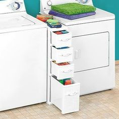 Nifty storage unit for the odd space between the washer and dryer