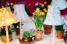 Spring wedding vintage diy wedding table decorations daffodil lampshades