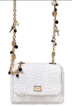 Dolce & Gabbana Charles mini bag.  petite shoulder bag with crystal and pearl embellished charm chain.   $1,525