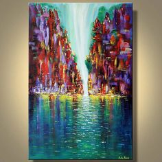 Large Original Painting Abstract Modern by ModernArtbyJuliaBars, $300.00