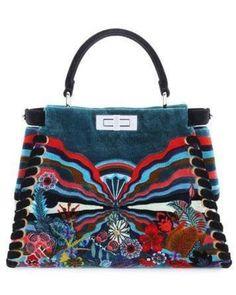 Fendi Embroidered Velvet Peekaboo Medium Bag at Luxury Next Season