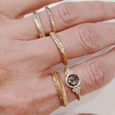 #regram from @fireopalboston of our 18k gold diamond tidal band {middle finger}  #gold #diamonds #diamondband #alternativebridal #jewelry #stackingrings #weddingband