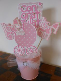 Baby ShowerIt's a Girl Pink Carriage by ASweetCelebration on Etsy, $35.50