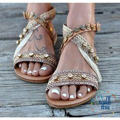 Gorgeous Bohemian Beach Sandals - Flip Flops Handmade Vegan Leather Straps  wrapped in Gold and pink 0860144370af