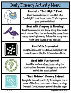 Fluency This is an amazing activity that can be done in the classroom daily. Each day there is a different activity to do with the class and these activities will strengthen the students fluency rate. Reading Intervention, Teaching Reading, Reading Comprehension, Guided Reading, Early Reading, Student Teaching, Teaching Tips, Reading Resources, Reading Strategies