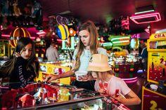 Three girls in amusement arcade penny slots Essex UK Documentary Lifestyle Portrait Photographer Game Of Zones, Las Vegas, British Holidays, Penny Arcade, Neon Aesthetic, Great British, Documentary Photography, My Images, Portrait Photographers