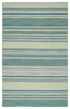Classic with a ticking stripe, this coastal blue and turquoise flatweave area rug lends traditional charm to any space. This casual wool layer offers reversible use for easy care and timeless durability. Ticking Stripe, Contemporary Area Rugs, Carpet Flooring, Coastal, Modern Rugs