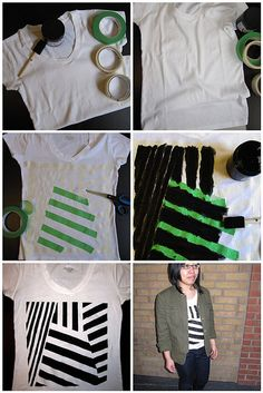 Sorry for the lack of posts in the past two days - just moved back into our dorms! 2nd Semester here we come! Anyways, here's an easy and awesome way to spice up a plain tee with some fabric paint and tape. You can create any pattern you want. Still Dottiehas a photo tutorial here to show you how to make your own!