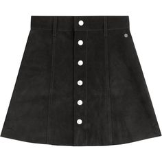 Alexa Chung for AG The Gove Suede Skirt ($1,120) ❤ liked on Polyvore featuring skirts, black, button skirt, a line skirt, button front skirt, ag adriano goldschmied and knee length a line skirt