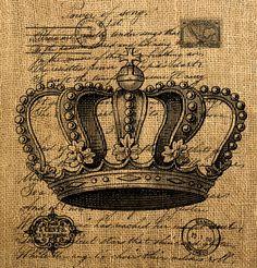 Vintage Post corona carta Digital hoja grande para por Mazix, $1.00