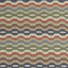 Link Upholstery Fabric A woven upholstery fabric with chain link design in muted greens, blues, red and natural, suitable for severe contract upholstery.