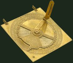 Nocturnal and sundial  Disk with folding index arm rotating on a square plate carrying fixed sights for altitudes. The diurnal hours and night hours are marked for several latitudes. There are also markings for the climates. On the back are a nocturnal and sundial, a 90° quadrant with a shadow square, and the sine scale. Made by Georg Zorn, about whom we have no information. Brought to Florence from Germany by Prince Mattias de' Medici in the first half of the seventeenth century.