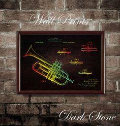 Trumpet 1917 Patent Print  Wall Poster Vintage by WallPrintsForYou