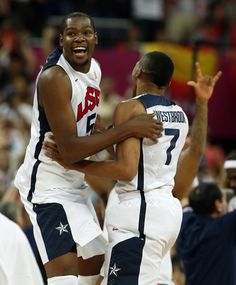 Durant and Westbrook of the U.S. celebrate victory against Spain after their men's gold medal  basketball match at the North Greenwich Arena in London during the London 2012 Olympic Games