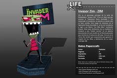 Zim es el personaje principal de la serie de Nickelodeon «Invasor Zim». Él es un Irken que por arruinar la «Operacion Ruina Inevitable I» fue desterrado a Comidortia, un planeta en donde só ... #invader #lifepapercraft #nickelodeon #paper #papercraft #zim Inevitable, Comic Books, Paper Crafts, Invader Zim, Enemies, Ruins, Planets, Character, Drawing Cartoons