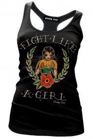 Women's Fight Like A Girl Racerback Tank Top - Black