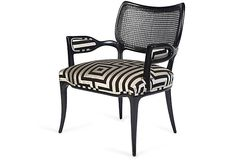 Hollywood glamour! Black-lacquered cane-back chair reupholstered in Kravet David Hicks fabric. ~ One Kings Lane
