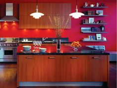 Modern Kitchen Decor Red Decorating Ideas And Interior Design With
