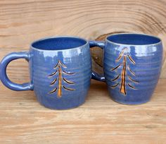Blue Christmas Tree Coffee Cups. His Hers by LittleRiverPottery