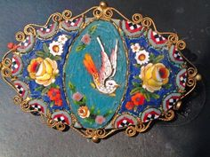 mosaic | ... mosaic-broche-featuring-a-floral-and-bird-design-micro-mosaic-artist