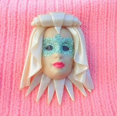 Masked Beauty Pin by artsdaughter on Etsy