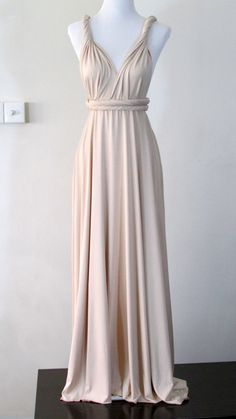 Summer maxi dress Convertible Dress in Champagne Infinity Dress Multiway Dress Cream eggshell white light Full length Wrap dress on Etsy, $44.49