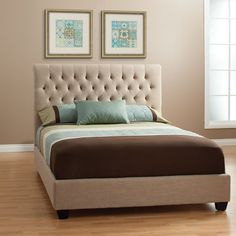 Chloe Fabric Upholstered Bed Queen Panel Bed in Light Tan Linen