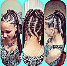 Natural hair styles. Protective styles. Big braids. Chunky braids. Ponytail braids. Braid ponytail.