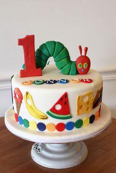 Very Hungry Caterpillar Custom Cake - # kuchen Boys 1st Birthday Cake, Custom Birthday Cakes, Custom Cakes, First Birthday Parties, 1 Year Old Birthday Cake, Birthday Ideas, Birthday Banners, 1st Birthdays, Birthday Invitations