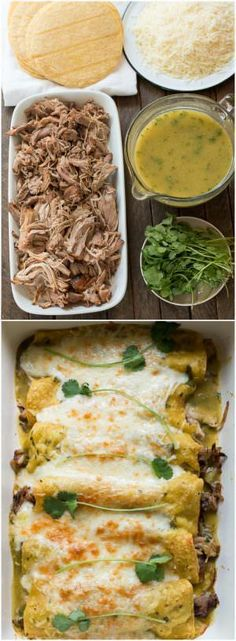 Pork Verde Enchiladas made easy with slow cooker pulled pork. Finish the enchiladas off in the oven for a perfect dinner. These beautiful Pork Verde Enchiladas
