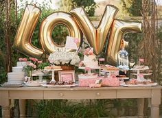 """Giant LOVE Balloons -  40"""" Inch Gold Mylar Balloons in Letters L-O-V-E  - Metallic Gold - Valentines Day Balloons, Wedding Decorations"""