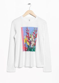 & Other Stories image 1 of Floral Graphic Long Tee in White
