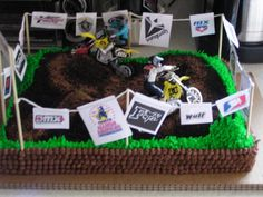dirtbike birthday cake: i know this is for ittle boys & hes 20 but hes is still my baby :)
