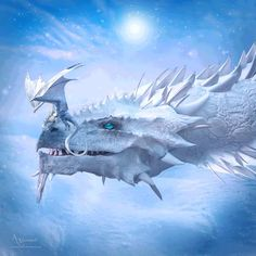 Mythical Creatures Art, Magical Creatures, Fantasy Creatures, Snow Dragon, Water Dragon, Fantasy World, Fantasy Art, Dragon Anatomy, Cute Dragon Drawing