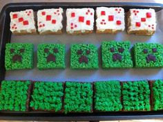 Minecraft cupcakes from rice krispy treats! Instead of minecraft cake, I'd do TNT, using R. Krispies dyed red.