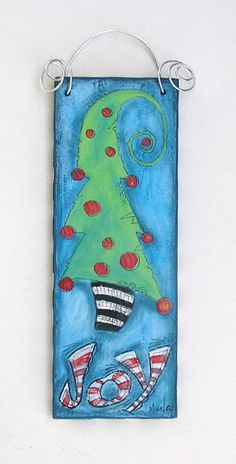 """Wooden sign.  """"Joy To The Christmas Tree"""""""