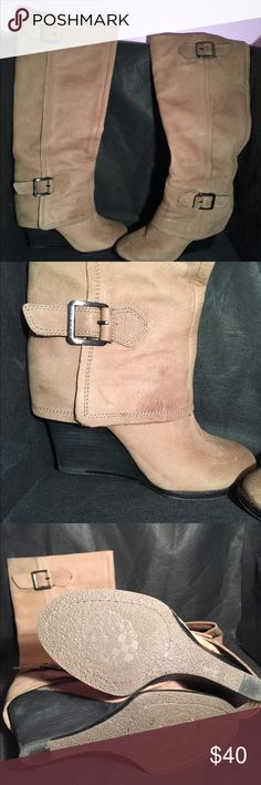 Size 8 Vince Camuto beige leather heel boot Barely worn size 8 beige leather wedge boots! Barely worn! Super comfy Vince Camuto Shoes Heeled Boots