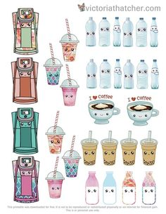 Free Kawaii Kafe Printable Planner Stickers | Victoria Thatcher