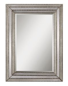 47 Mirror Inlay  Burnished Silver Wood Framed Beveled Rectangular Wall Mirror -- This is an Amazon Affiliate link. For more information, visit image link.