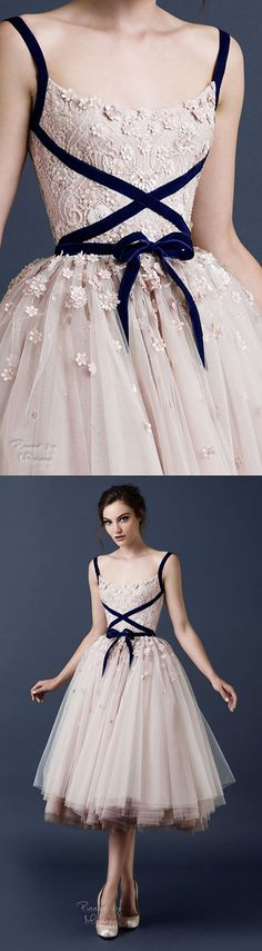 Would change out the bow to something bolder or move to back. Add more black straps. Blush bridesmaids dress | blush wedding | Paolo Sebastian 2015