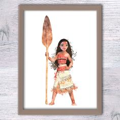 Disney princess watercolor print Set of 4 Disney Moana art