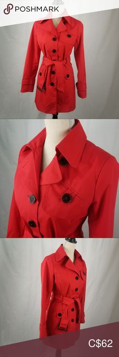 Red Classic Trench Coat by Louie Louie Louie Louie, Classic Trench Coat, Sewing A Button, Plus Fashion, Fashion Tips, Fashion Trends, Pocket Detail, Jackets For Women, Construction