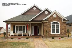 Rempfer Construction, Inc. Stone Siding, Stone Veneer, Columns, Shed, Construction, Outdoor Structures, Cabin, House Styles, Nice