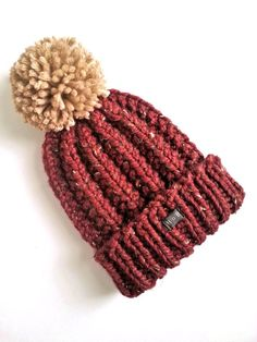 Mens Bobble Hat. Thick chunky bugundy hand knit beanie hat 250e456c464b