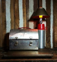 One-of-a-kind Upcycled Repurposed Vintage Metal King Seeley V Dome Top Lunch Box Pail & Thermos Stash Box Lamp Rustic Light w/Metal Shade