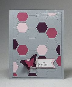 dreamingaboutrubberstamps.com - Hexagon Hive Thinlit Card - Very little stamping is required with this puzzle card from Stampin' Up! in Smoky Slate, Blackberry Bliss, Rose Red and Pink Pirouette with the Triple Banner Punch
