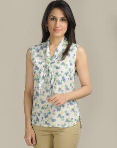 Fabindia.com | Cotton Mull Printed Tie-up Raised Neck Top