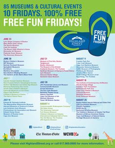 Free Fun Fridays Schedule for Summer 2017 - Boston on Budget