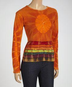 Another great find on #zulily! Orange Stripe Tie-Dye Scoop Neck Top #zulilyfinds